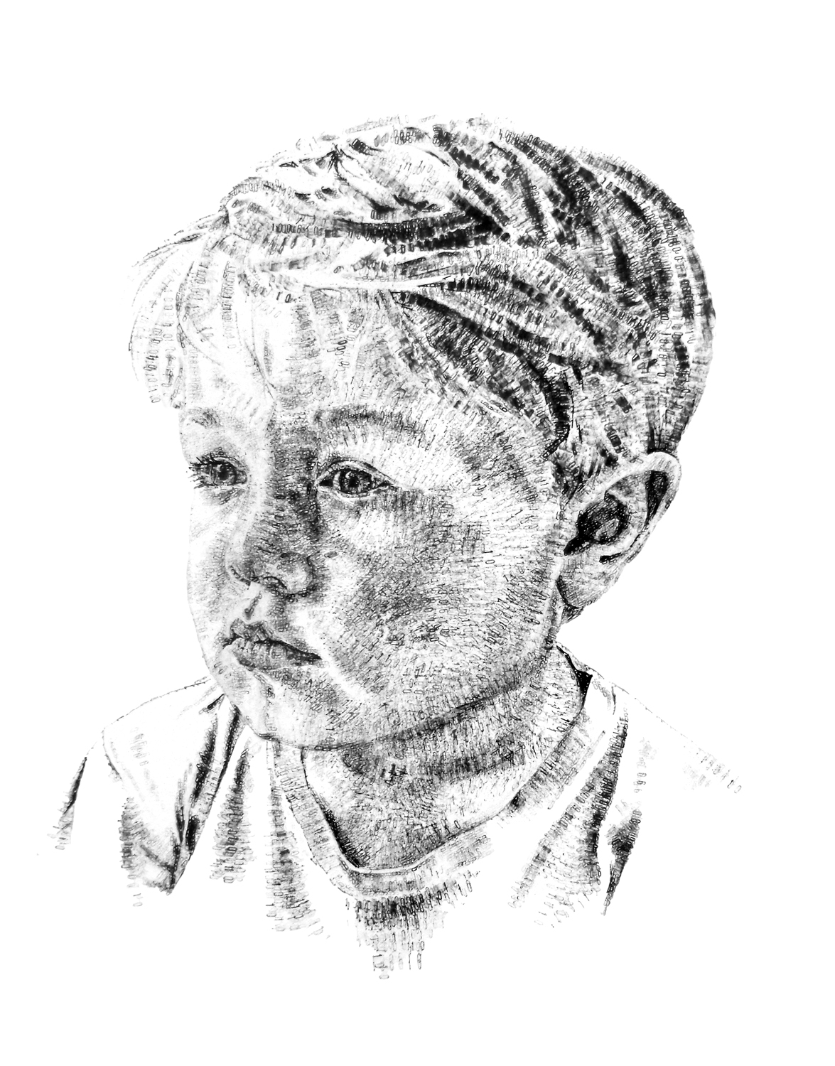 Dominic, aged 5, 2015, date stamp and ink on paper, 50 x 30 cm