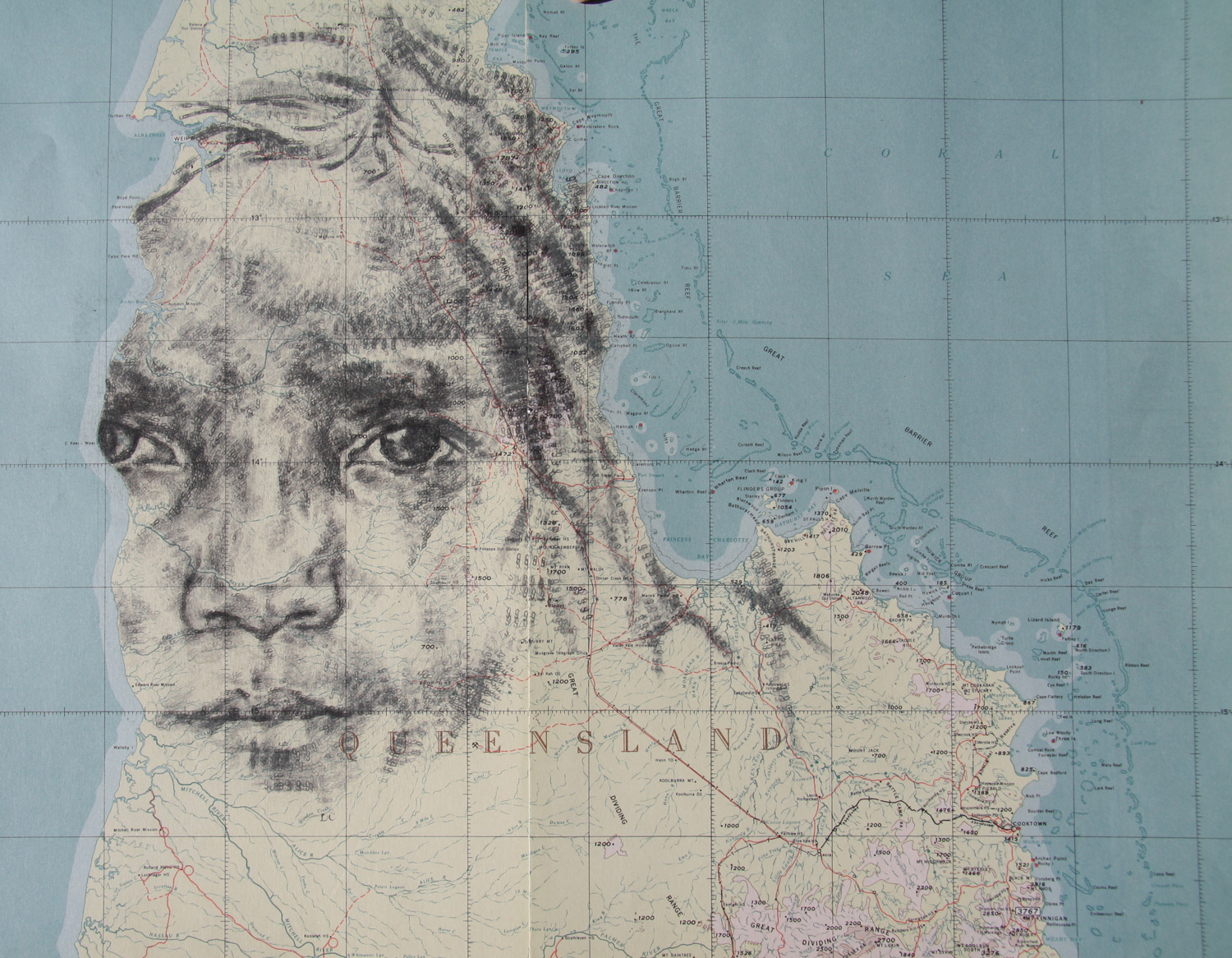 'Edward River 9', 2013, (SOLD), date stamp and ink on map of Queensland, 60 x 42 cm