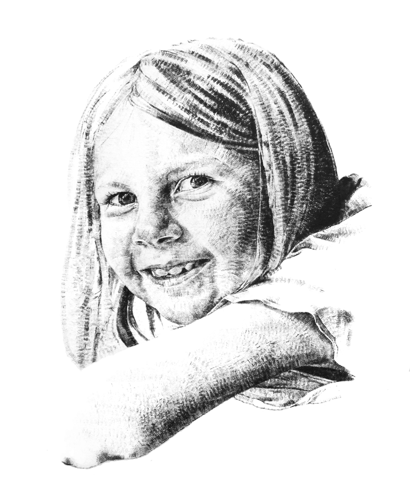 Eloise, aged 6, 2015, date stamp and ink on paper, 60 x 40 cm