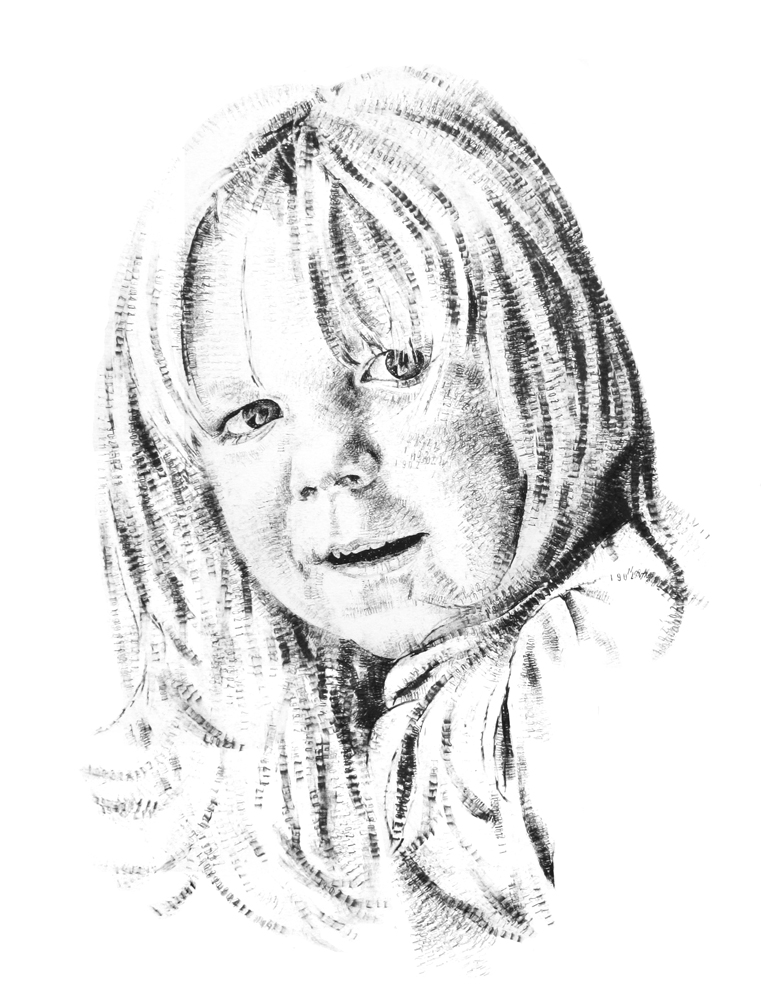 Freya, aged 4, 2015, date stamp and ink on paper, 60 x 40 cm