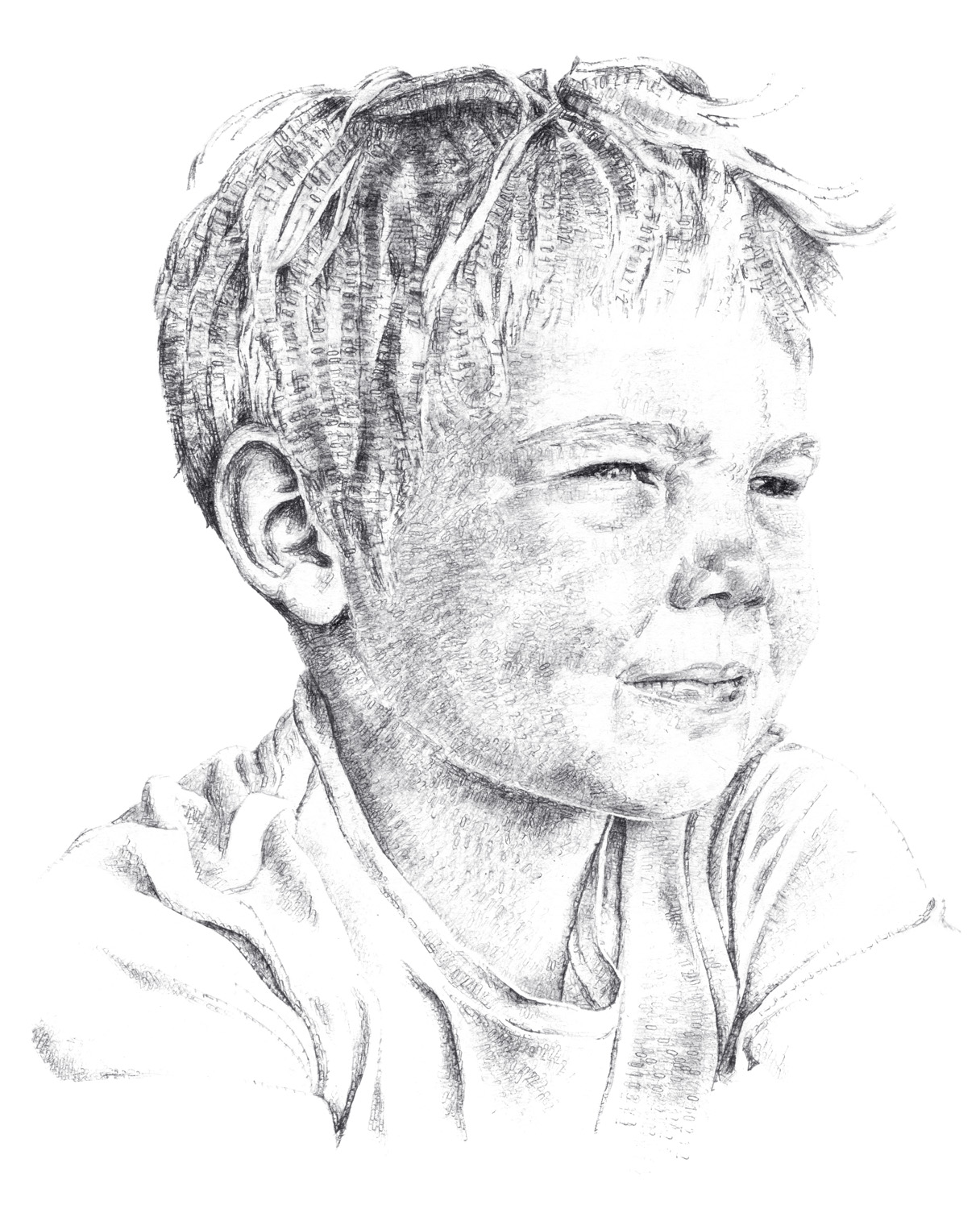 Jonathan, aged 5, 2017, date stamp and ink on paper, 50 x 35 cm