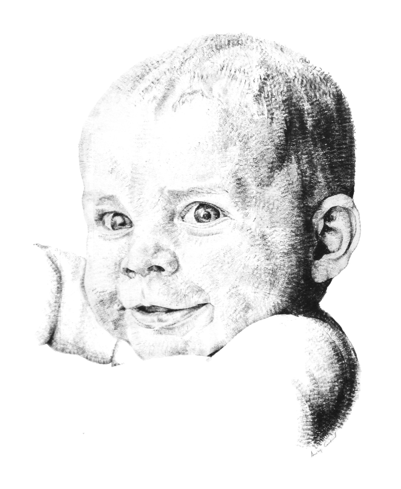 Lawrence, aged 1, 2015, date stamp and ink on paper, 60 x 40 cm