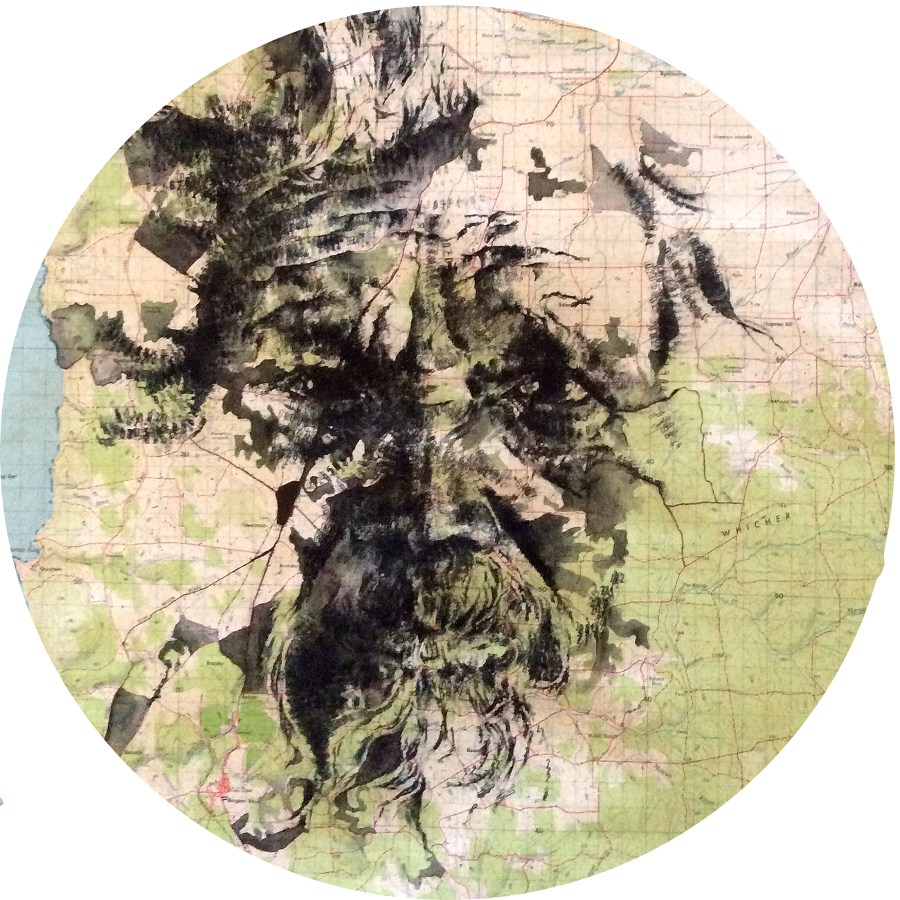 Wilyabrup, 2014, date stamp and ink on map of Western Australia, 60 x 50 cm