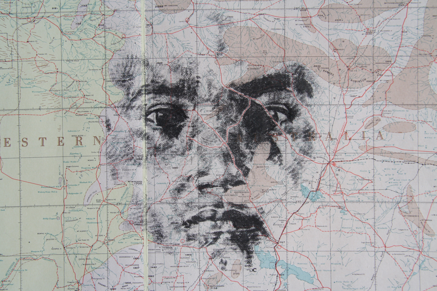 'Murchison 26', 2013, (SOLD), date stamp and ink on map of Western Australia, 52 x 38 cm