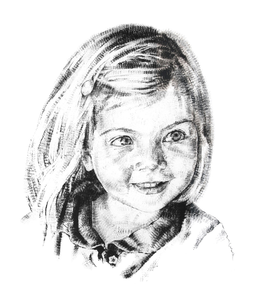 Nancy, aged 4, 2014, date stamp and ink on paper, 60 x 40 cm