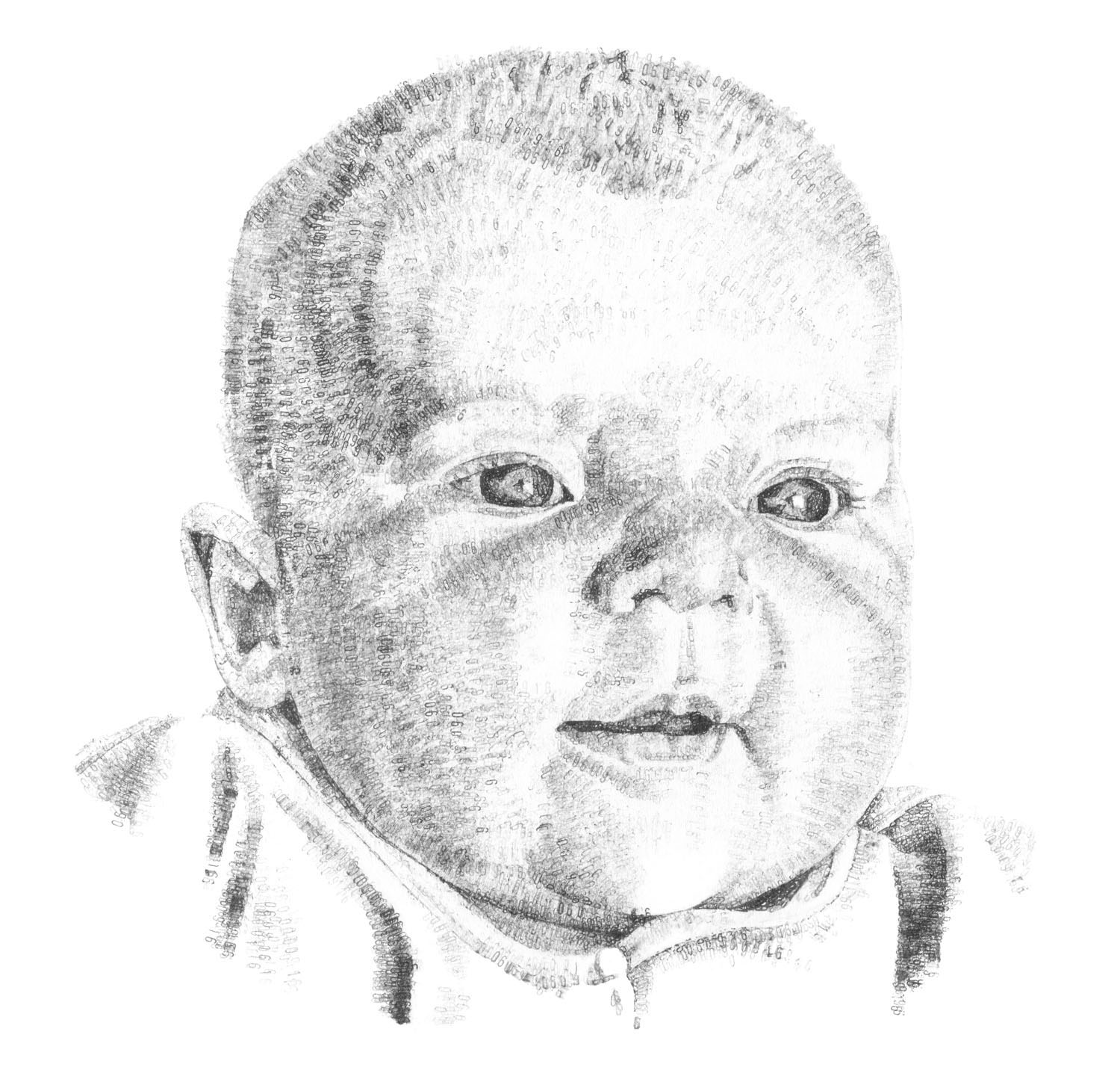 Ottilie, aged 6 months, 2017, date stamp and ink on paper, 40 x 60 cm