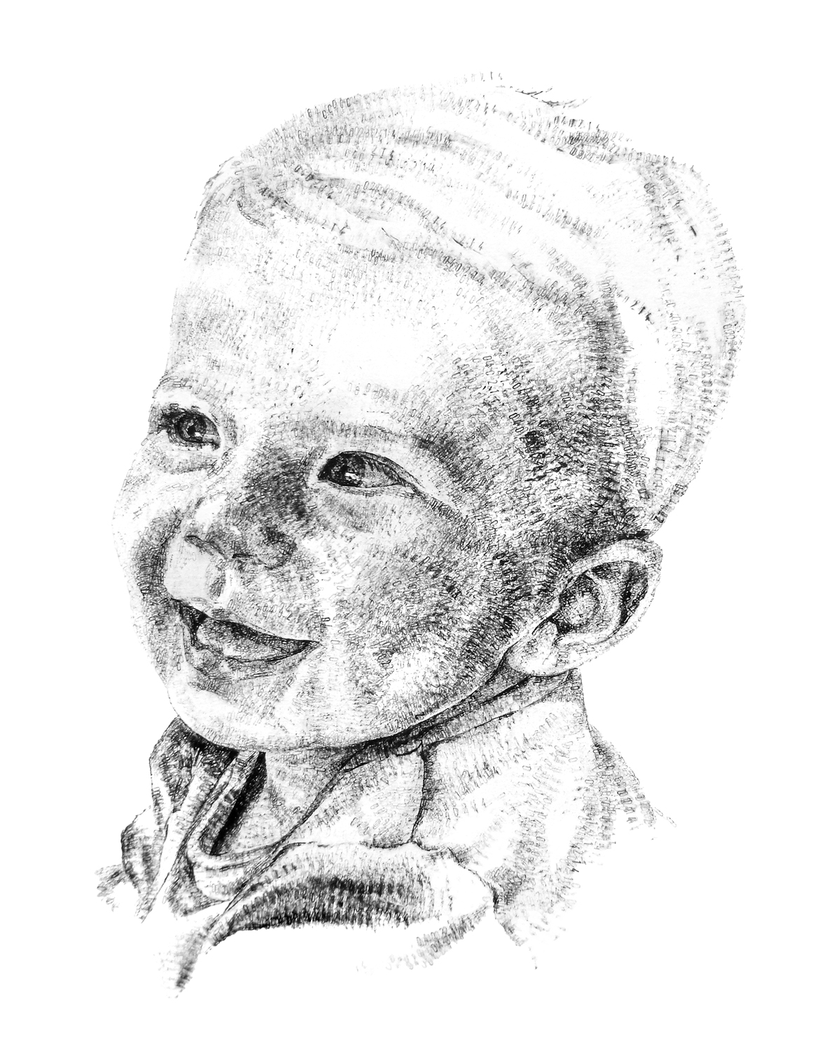 Ted, aged 1, 2015, date stamp and ink on paper, 50 x 30 cm