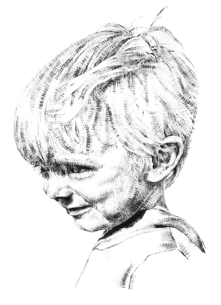 William, aged 4, 2014, date stamp and ink on paper, 60 x 40 cm