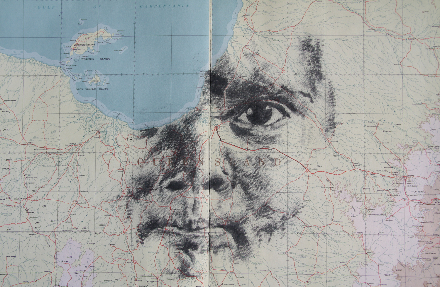 'Yulparija 18', 2013, (SOLD), date stamp and ink on map of Queensland, 52 x 38 cm