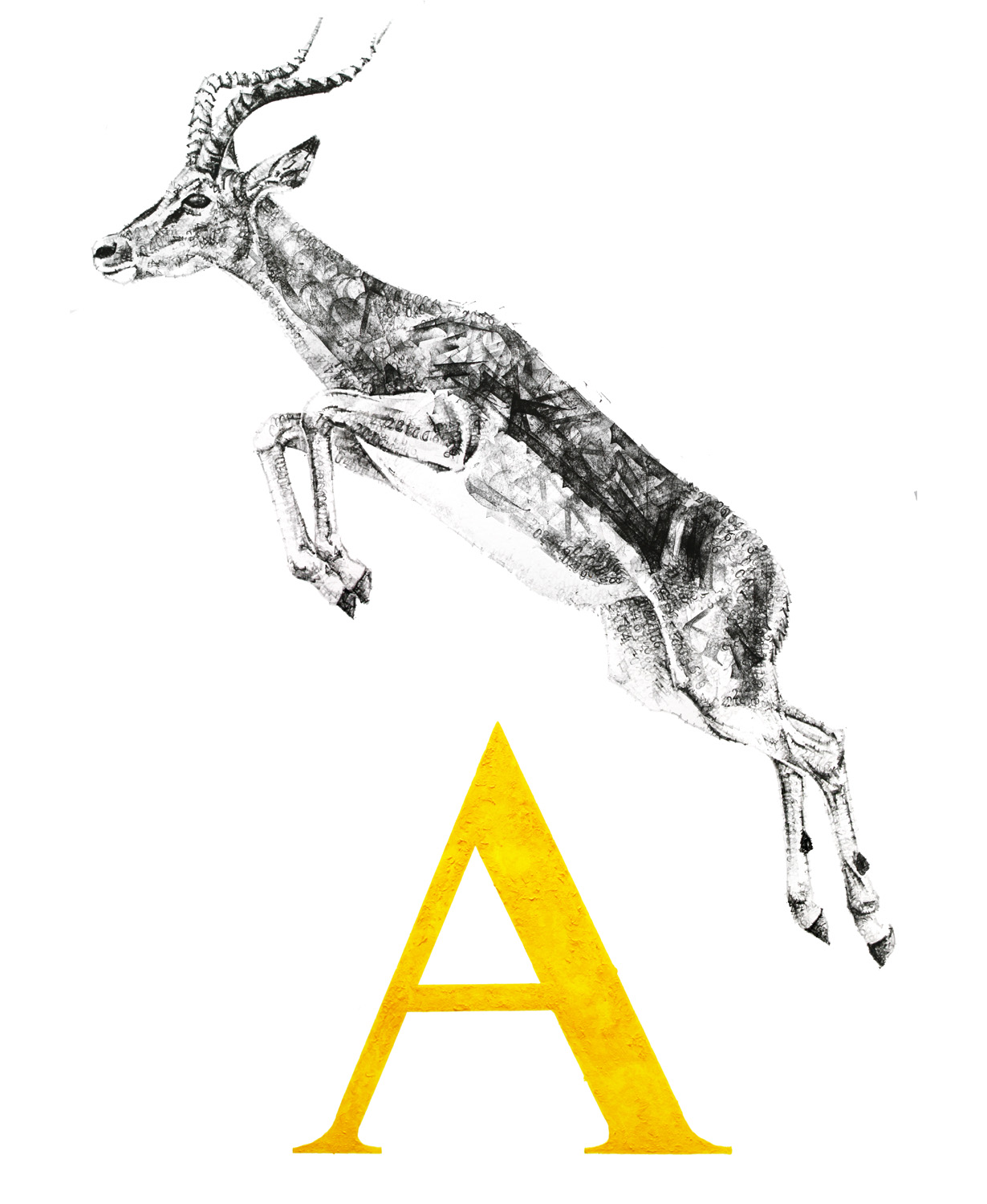 A for Antelope, 2016, date stamp, ink and acrylic on paper, 100 x 100 cm