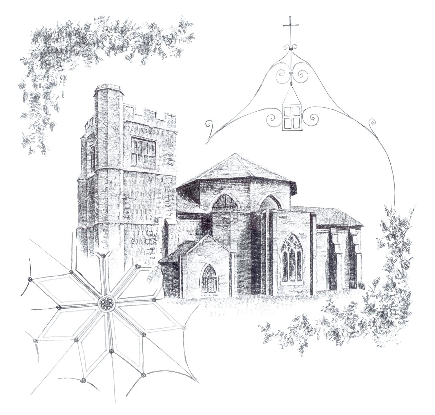 Micheldever Church, Hampshire, 2016, date stamp and ink on paper, 42 x 42 cm