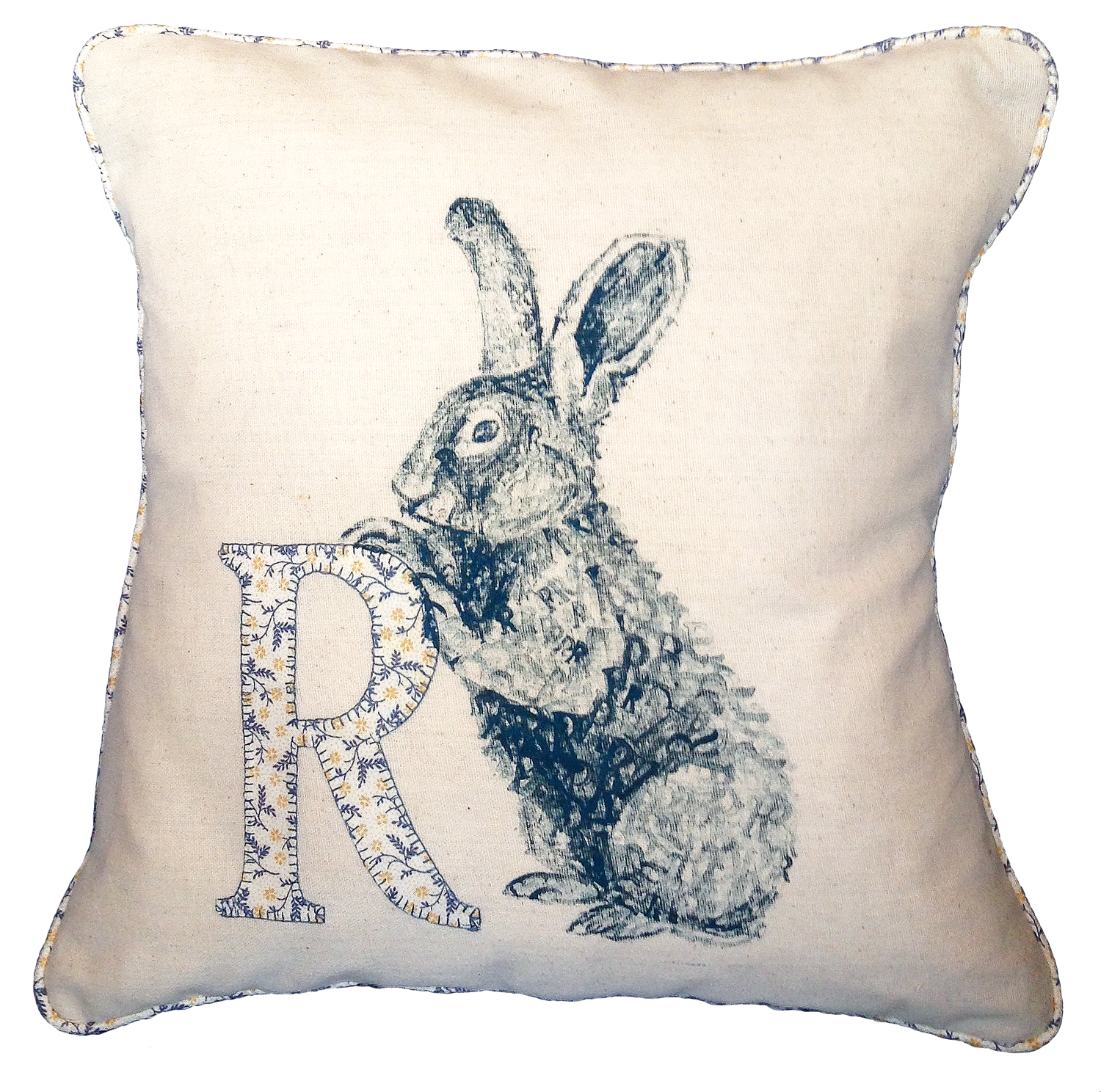 'R for Ruby/Rabbit', 2015, ink stamp, fabric ink on cotton piped cushion, 40 x 40 cm