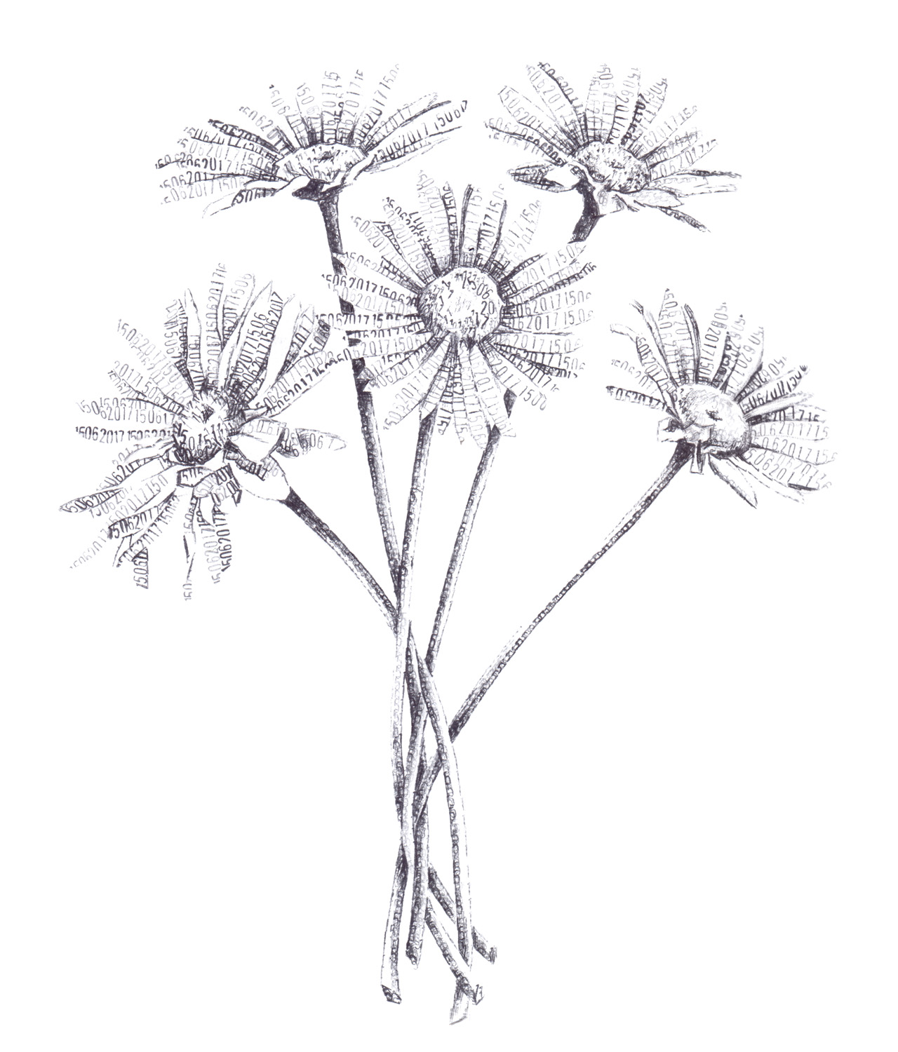 Daisies, 2017, date stamp and ink on paper, 35 x 30 cm