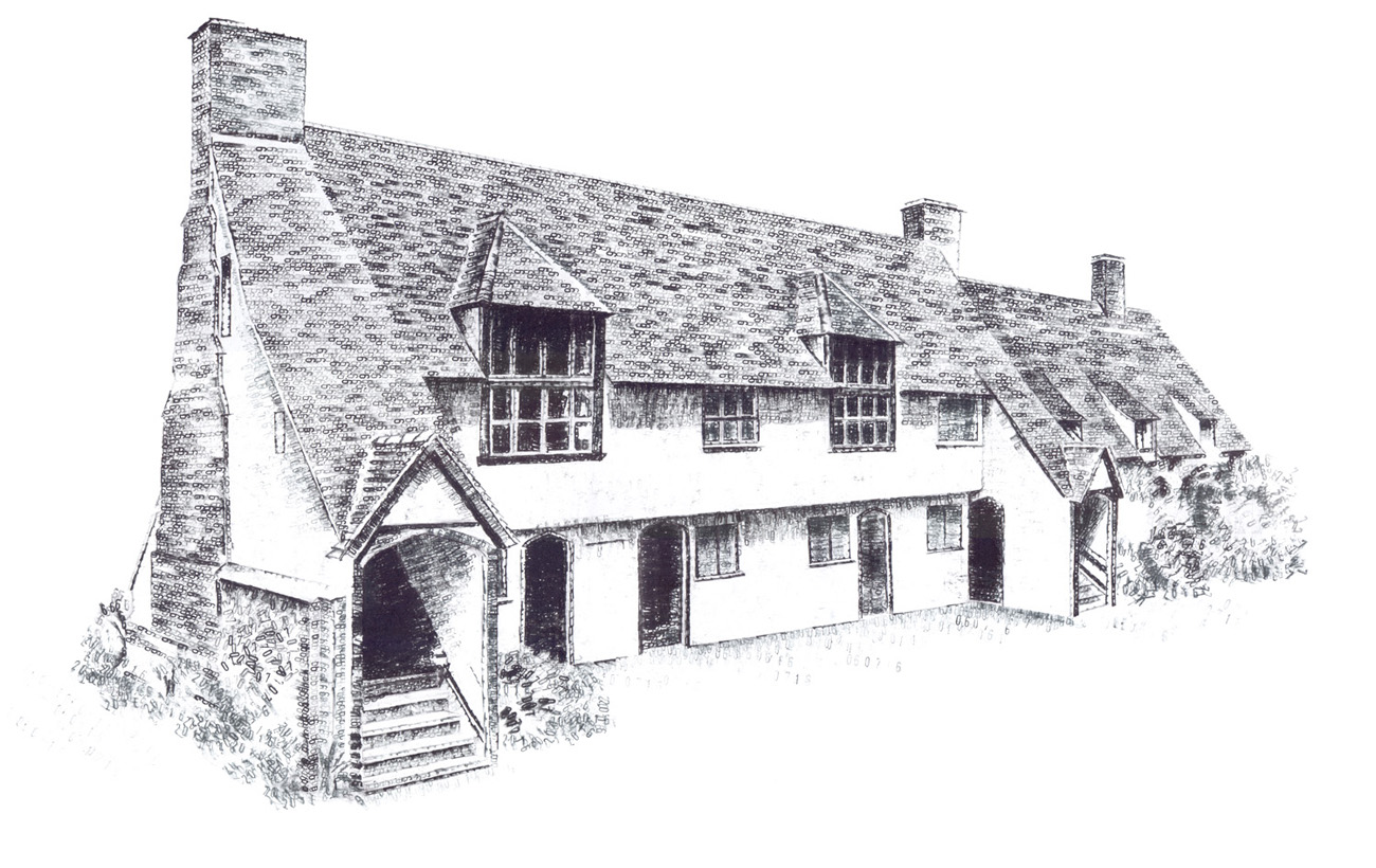 Barley Town House, Hertfordshire, wedding venue, 2016, date stamp and ink on paper, 30 x 50 cm