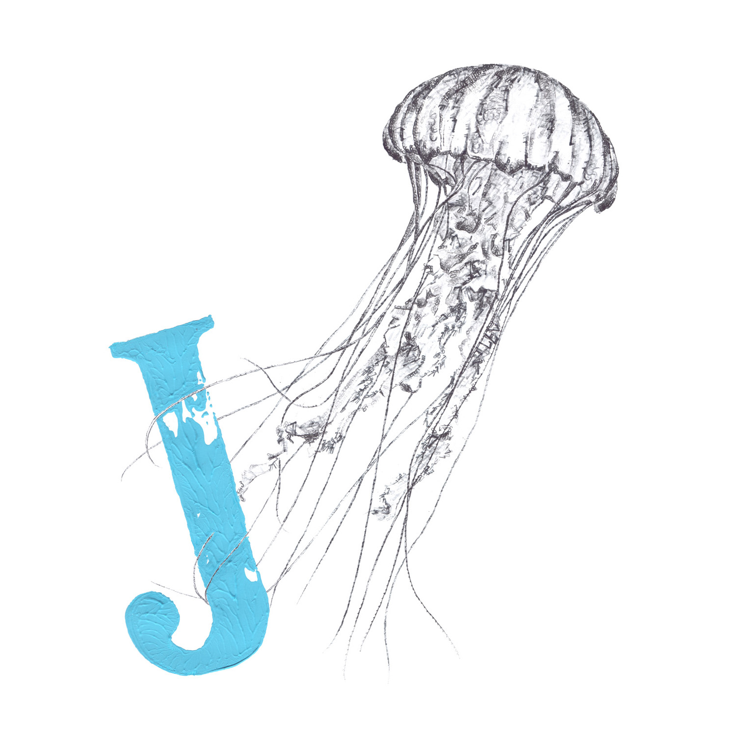 J for Jellyfish (16.07.2013), 2016, date stamp, ink and acrylic on paper, 50 x 50 cm
