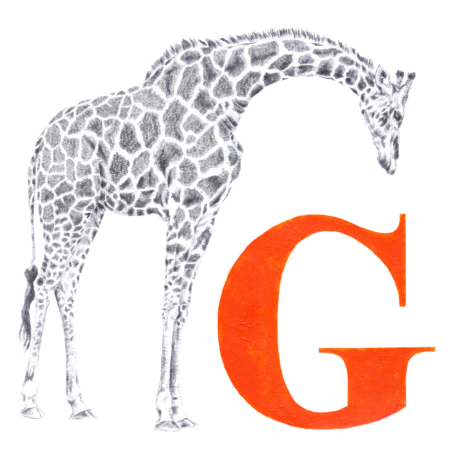 G for Giraffe, 2017, date stamp and ink on paper, 50 x 50 cm